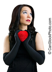 Female with red heart, isolated on white background