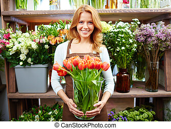 Female with tulips