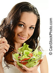 female with vegetable salad bowl