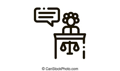 Female Witness Law And Judgement animated black icon on white background