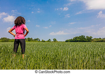 Female Woman Girl Runner in Green Field
