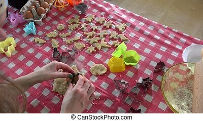 Female woman hands making christmas cookies