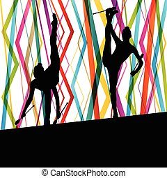 Female woman modern rhythmic gymnastics art with Indian clubs vector abstract background