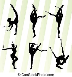 Female woman modern rhythmic gymnastics art with Indian clubs vector set background