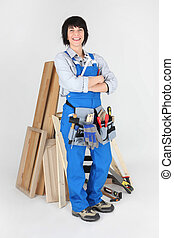 Female woodworker with tools