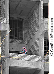 Female worker at construction site