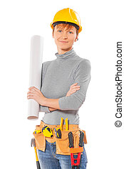 female worker holding rolled up blueprint isolated