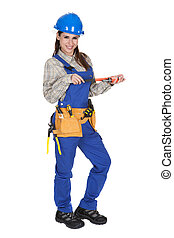 Female Worker Holding Wrench And Toolbox