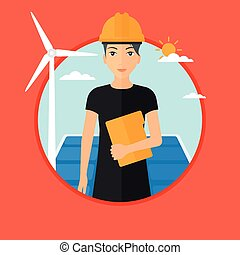 Female worker of solar power plant and wind farm. - Worker...