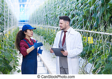 Female Worker Talking to Scientist in Plantation