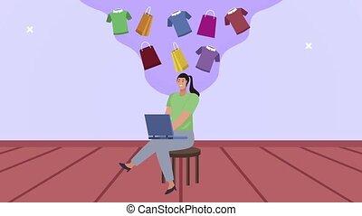 female worker using laptop ecommerce ,4k video animated