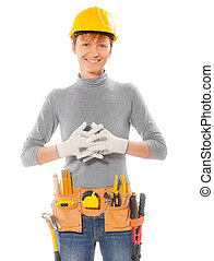 female worker with crossed hands isolated
