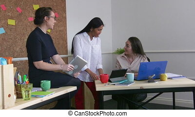 Female Workers In An Office - Women are working together in...