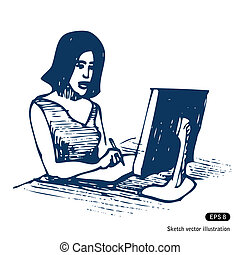 Female working with computer