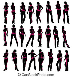 Female Workout Silhouette - Female workout illustration...