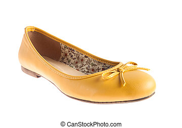Female yellow shoes isolated