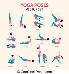 Female Yoga Icon Set in Flat Style. Vector Illustration of Beautiful Cartoon Woman in Basic Various Poses of Yoga, Collection. Isolated
