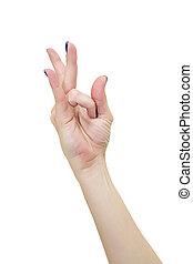 Female Yoga mudra hand isolated on white background