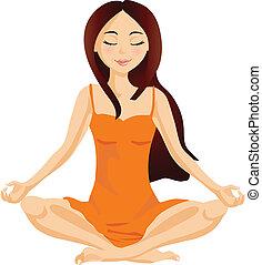 Female yoga/meditation - Girl sitting in relaxation yoga ...