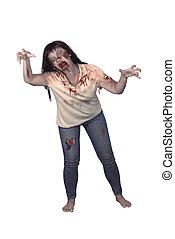 Female zombie isolated over white background