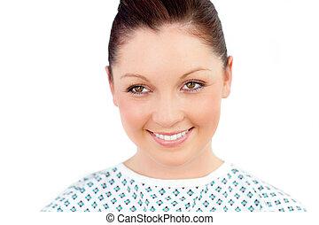 femalepatient, sorrindo, retrato