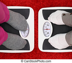 Females feet on bathroom scales