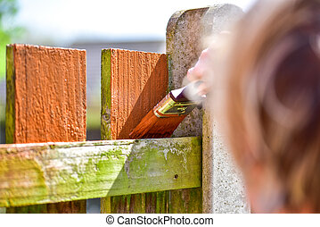 hand with paintbrush painting wooden fence