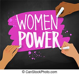 females, magt, skrift, hænder, slogan, kvinder