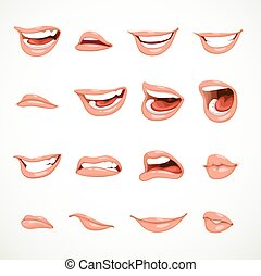 Female's mouth to express different emotional states objects...