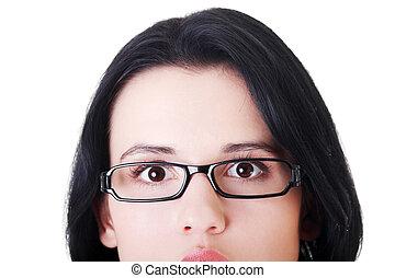 female's, rosto, com, eyeglasses., corte, fora.