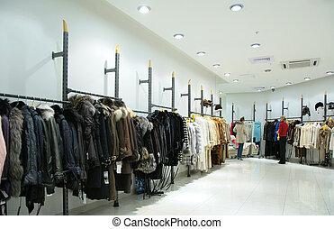 female`s, superiore, vestiti, in, negozio
