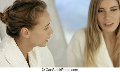 Females talking over a cup of tea at the spa