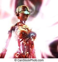 fembot, 3d, イラスト, デジタル