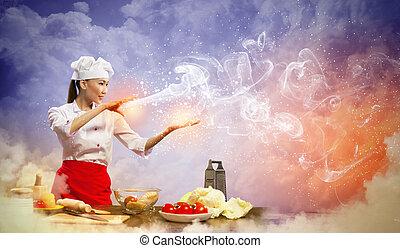 femelle asiatique, cuisine, à, magie