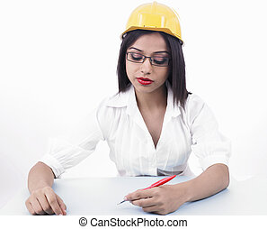 femelle asiatique, ingénieur