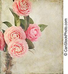 femenino, camelia, flores, con, vendimia, textura