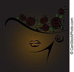 femenino, negro, silueta, rosas