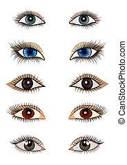 femenino, ojo, abierto, kit
