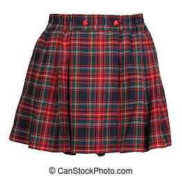 femenino, tartán, falda, rojo