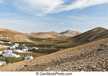 View from Femes in Lanzarote, Spain to Las Casitas near Uga.