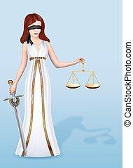 femida, 女, スケール, 正義, 女神, イラスト, 剣