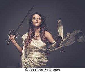 femida, deusa, de, justiça, com, escalas, e, espada
