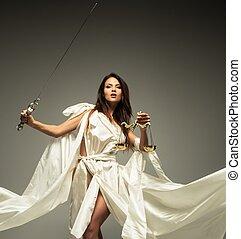 femida, göttin, von, gerechtigkeit, mit, waage, und, schwert