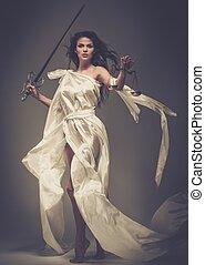 femida, istennő, közül, igazságosság, noha, mérleg, és, kard