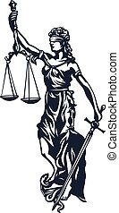 Femida - goddess lady justice, stylized vector illustration