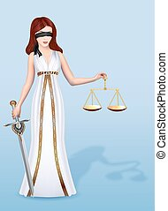 femida, mujer, escalas, justicia, diosa, ilustración, espada