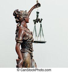 femida, ou, justiça, deusa, themis, branca, escultura, lado