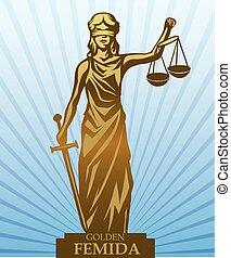 Femida vector illustration. - Femida - lady justice, graphic...