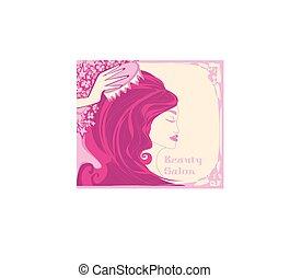 feminina, abstratos, -, cartão, cabeleireiras
