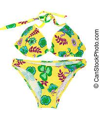 feminina, amarela, swimsuit